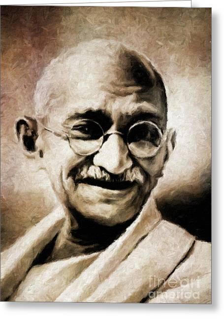 Mahatma Gandhi By Mary Bassett Greeting Card