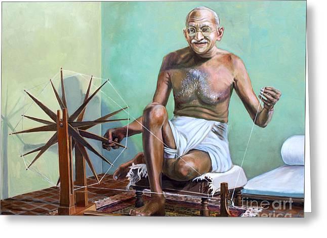 Mahatma Gandhi Spinning Greeting Card by Dominique Amendola