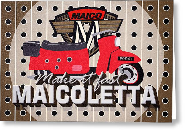 Maicoletta Scooter Advertising Greeting Card
