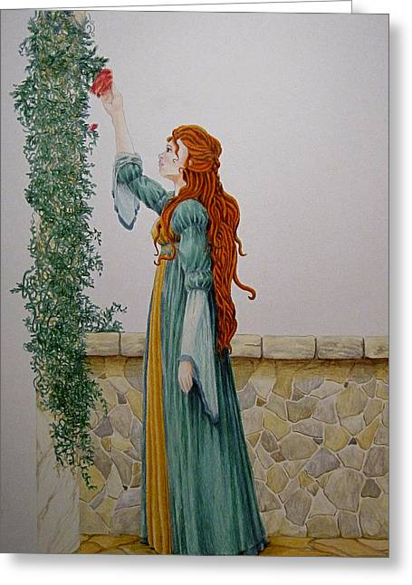 Maiden And The Rose Greeting Card by Theresa Higby