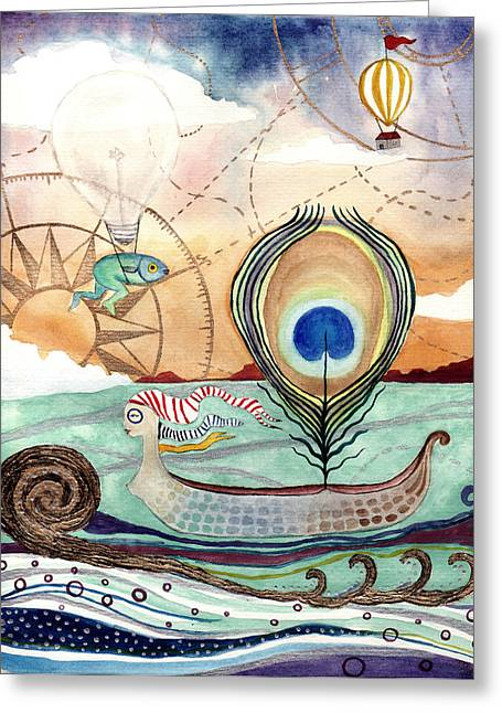 Maiden Voyage Greeting Card by Ida Noelle Calumpang