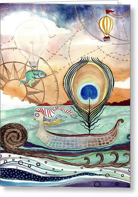 Hot Air Balloon Mixed Media Greeting Cards - Maiden Voyage Greeting Card by Ida Noelle Calumpang