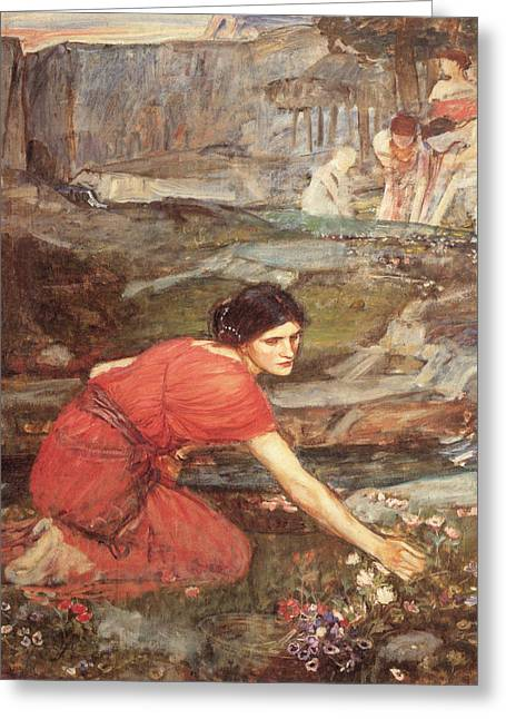 Maidens Picking Flowers By The Stream Greeting Card by John William Waterhouse