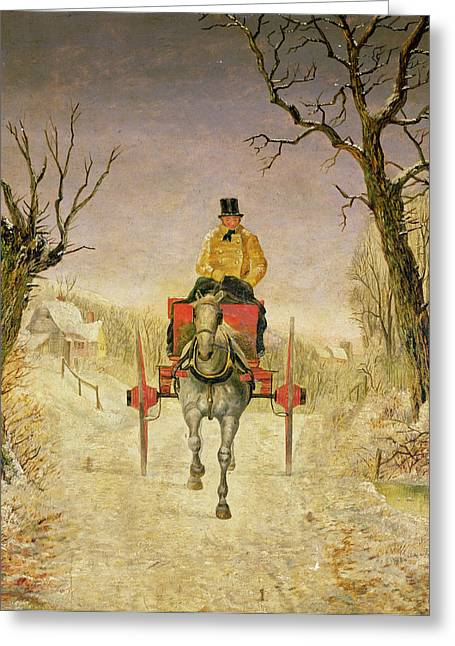 Mail Cart Christmas Greeting Card by R R Ripley
