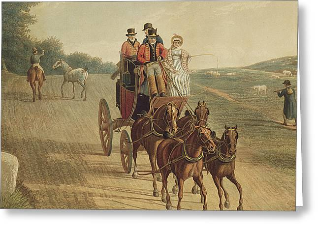 Mail Coach Greeting Card by Frederick Christian Lewis