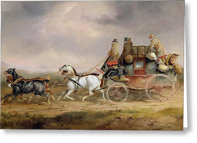Mail Coaches On The Road - The Louth-london Royal Mail Progressing At Speed Greeting Card by Charles Cooper Henderson