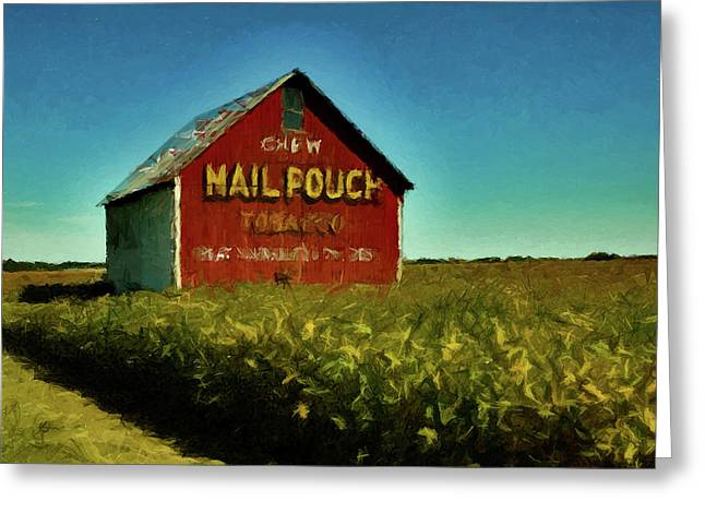 Greeting Card featuring the painting Mail Pouch Barn P D P by David Dehner