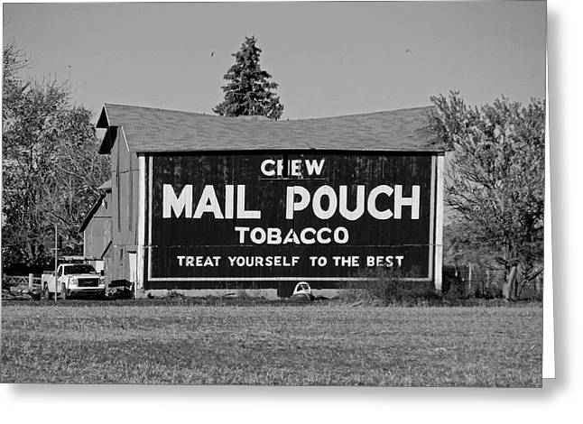 Greeting Card featuring the photograph Mail Pouch Tobacco In Black And White by Michiale Schneider