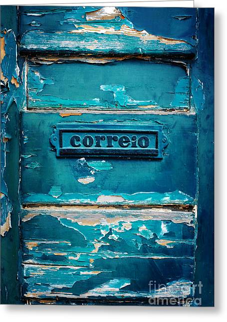 Mailbox Blue Greeting Card by Carlos Caetano