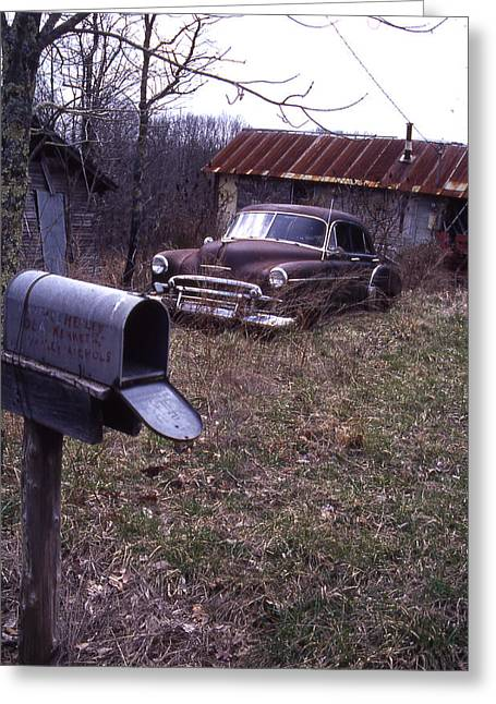 Mailbox Car Greeting Card by Curtis J Neeley Jr