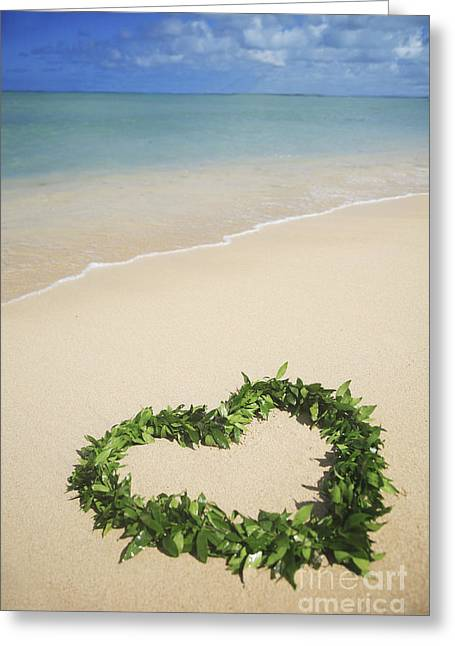 Maile Lei On Beach II Greeting Card by Brandon Tabiolo - Printscapes