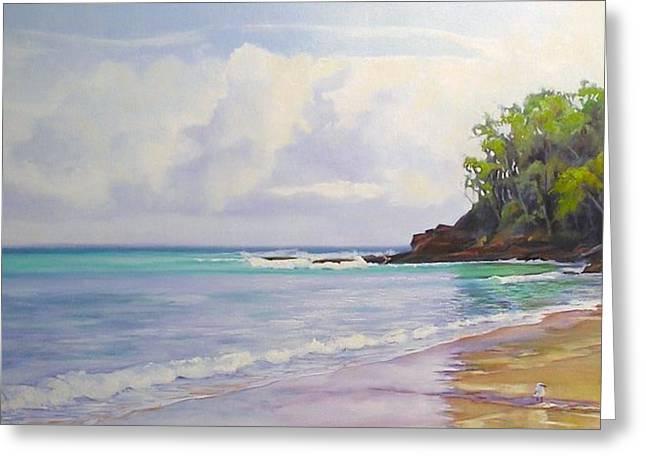 Greeting Card featuring the painting Main Beach Noosa Heads Queensland Australia by Chris Hobel