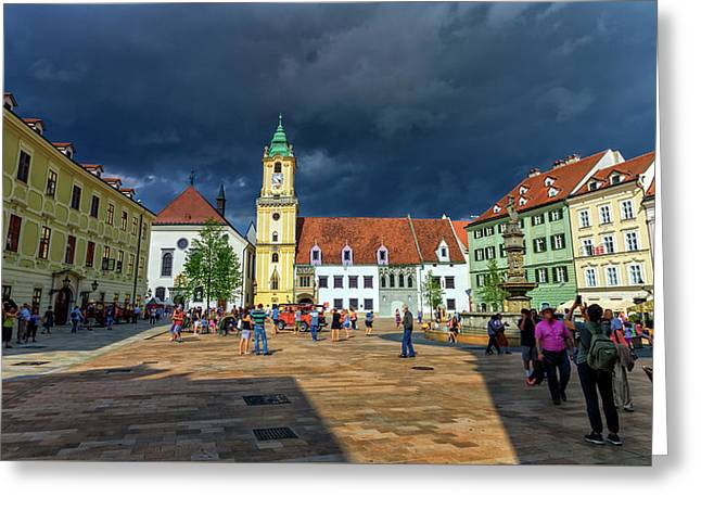Main Square In The Old Town Of Bratislava, Slovakia Greeting Card