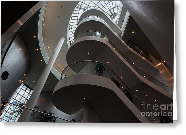 Main Stairway Going Up The Perlan Greeting Card by Dan Hartford