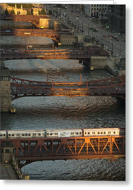 Wacker Greeting Cards - Main Stem Chicago River Greeting Card by Steve Gadomski
