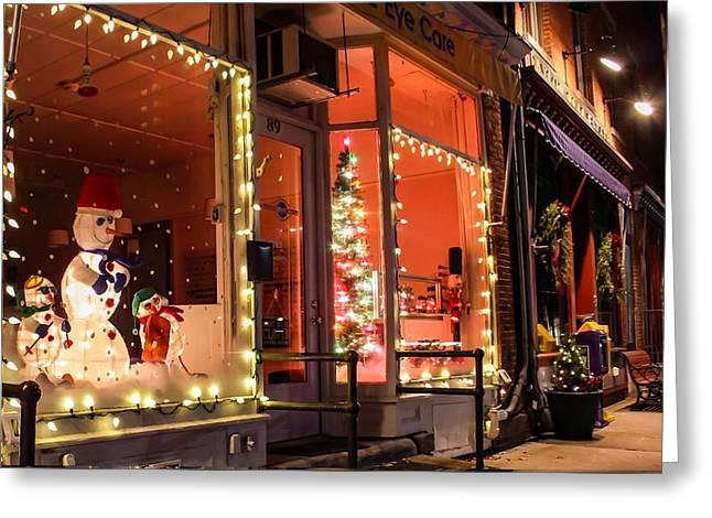 Greeting Card featuring the photograph Main Street During The Holiday Season by Sven Kielhorn