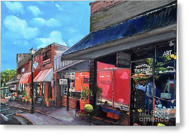 Greeting Card featuring the painting Main Street Ellijay - Mountain Treasures - On The Square by Jan Dappen