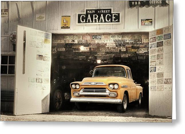 Main Street Garage Greeting Card by Lori Deiter