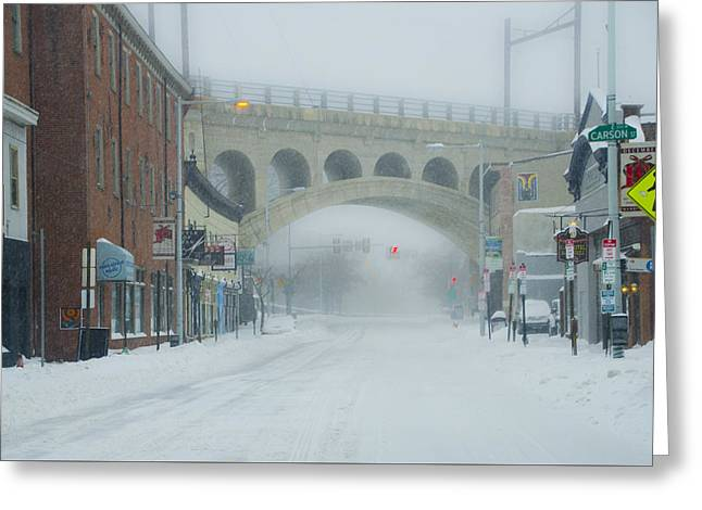 Main Street In Manayunk On A Snow Day Greeting Card by Bill Cannon