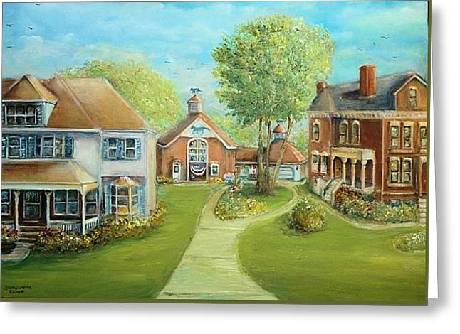 Greeting Card featuring the painting Main Street In The Summer  by Bernadette Krupa