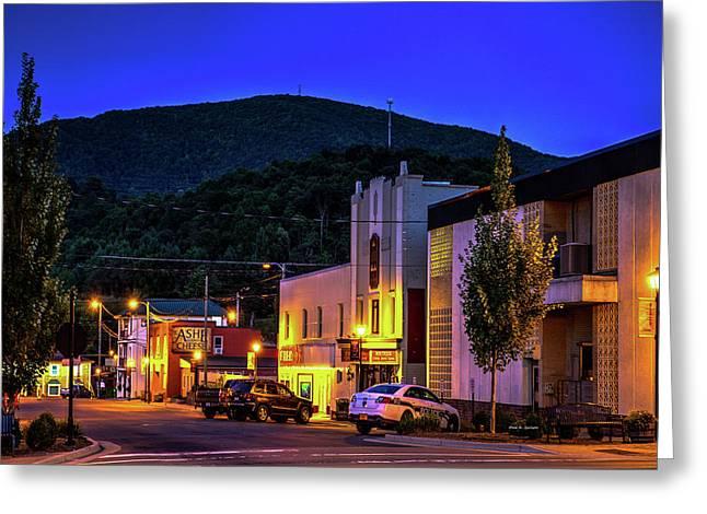 Main Street Lights Greeting Card by Dale R Carlson
