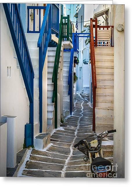 Main Street Mykonos Greeting Card by Ken Andersen
