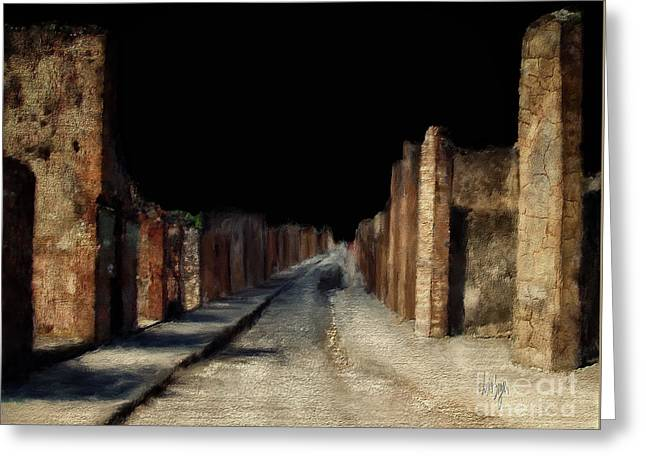 Greeting Card featuring the digital art Main Street, Pompeii by Lois Bryan