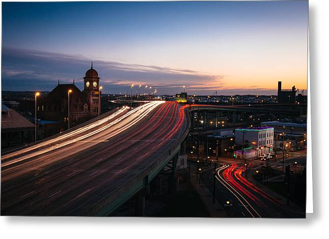 Main Street Station Greeting Card by Chris Marcussen