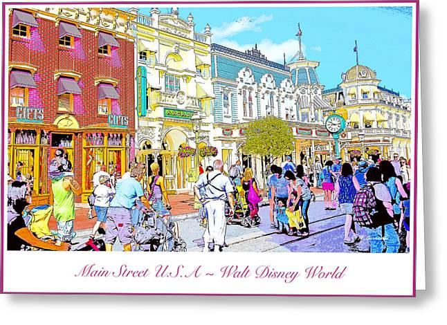 Main Street Usa Walt Disney World Poster Print Greeting Card