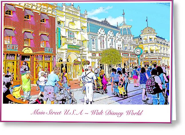 Main Street Usa Walt Disney World Poster Print Greeting Card