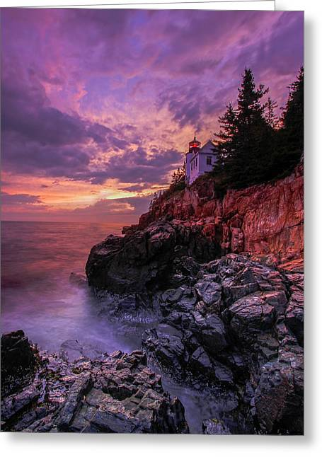 Greeting Card featuring the photograph Maine Bass Harbor Lighthouse by Juergen Roth