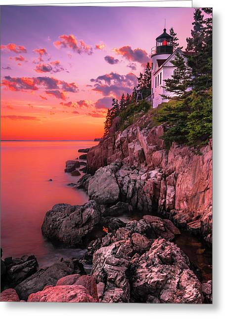 Greeting Card featuring the photograph Maine Bass Harbor Lighthouse Sunset by Ranjay Mitra