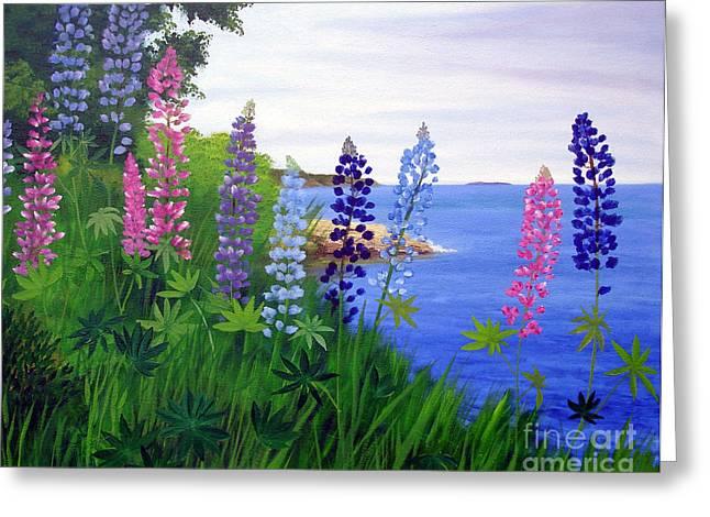 Maine Bay Lupine Flowers Greeting Card by Laura Tasheiko