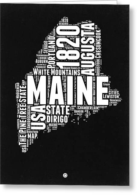 Maine Black And White Map Greeting Card