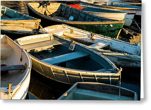 Greeting Card featuring the photograph Maine Boats At Sunset by Ranjay Mitra