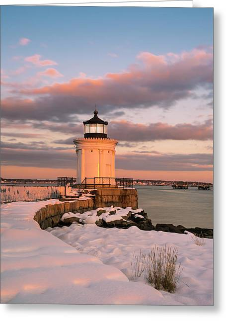 Greeting Card featuring the photograph Maine Bug Light Lighthouse Snow At Sunset by Ranjay Mitra