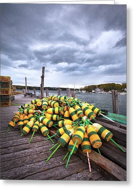 Maine Buoys And Storm Clouds Greeting Card