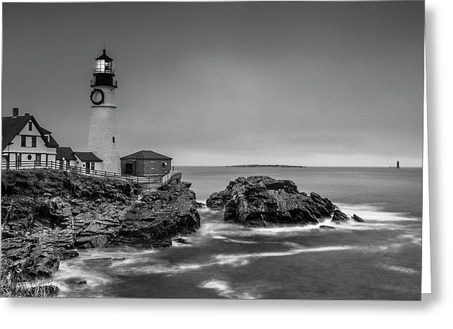 Greeting Card featuring the photograph Maine Cape Elizabeth Lighthouse Aka Portland Headlight In Bw by Ranjay Mitra