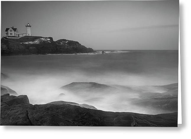 Greeting Card featuring the photograph Maine Cape Neddick Lighthouse And Rocky Coastal Waves Bw by Ranjay Mitra