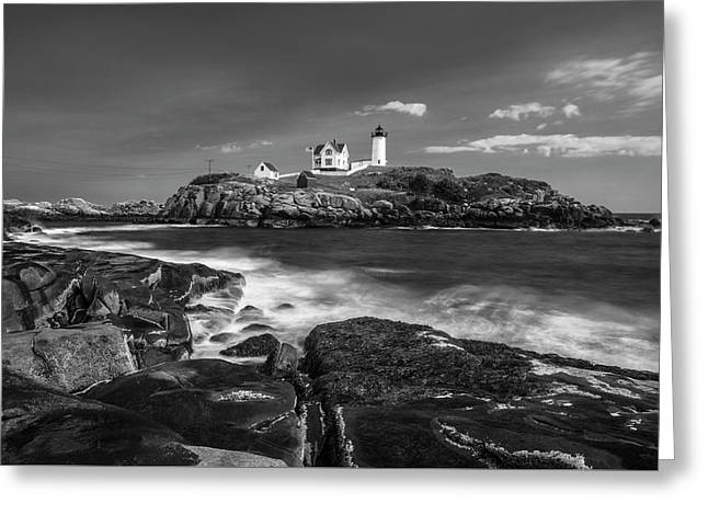 Maine Cape Neddick Lighthouse In Bw Greeting Card