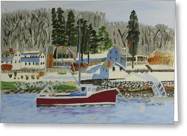 Maine Coast With Lobster Boat Greeting Card