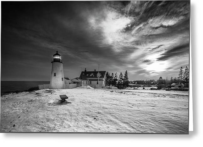 Maine Coastal Storm Over Pemaquid Lighthouse Greeting Card
