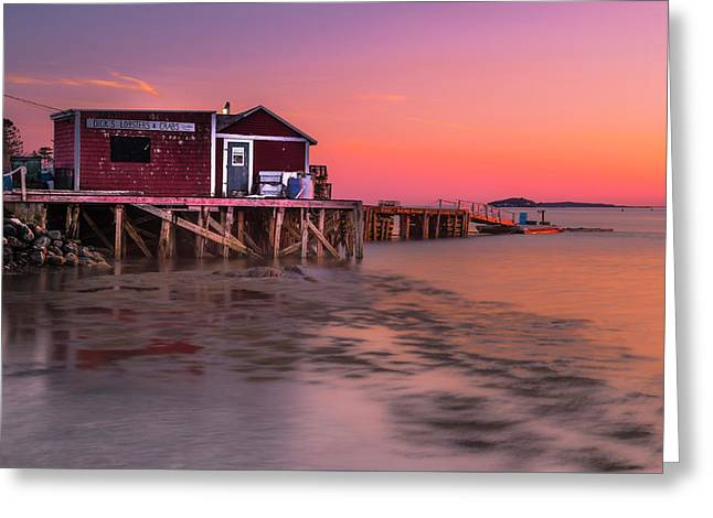 Greeting Card featuring the photograph Maine Coastal Sunset At Dicks Lobsters - Crabs Shack by Ranjay Mitra