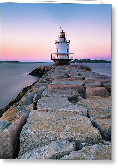 Maine Coastal Sunset Over The Spring Breakwater Lighthouse Greeting Card