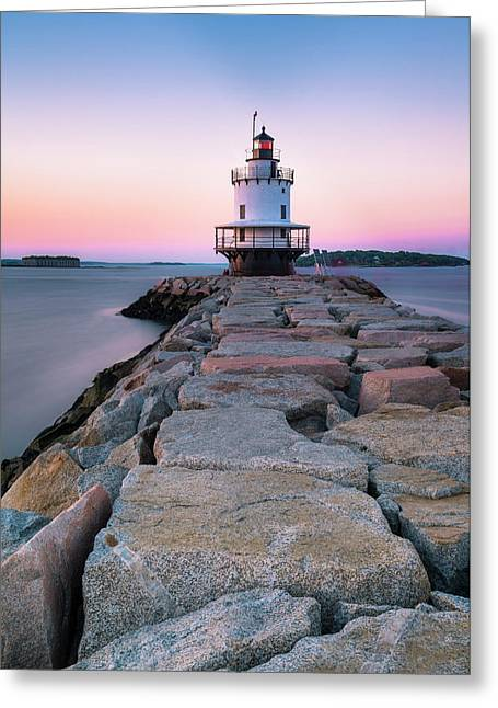 Greeting Card featuring the photograph Maine Coastal Sunset Over The Spring Breakwater Lighthouse by Ranjay Mitra