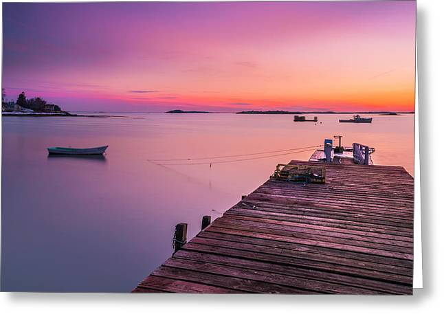 Maine Cooks Corner Lobster Shack At Sunset Greeting Card