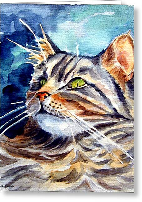 Maine Greeting Cards - Maine Coon Cat Greeting Card by Lyn Cook