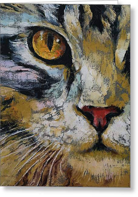 Maine Coon Greeting Card by Michael Creese