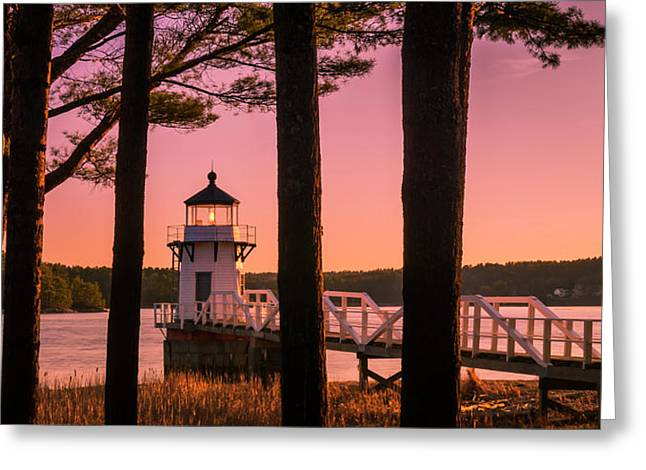 Maine Doubling Point Lighthouse At Sunset Panorama Greeting Card