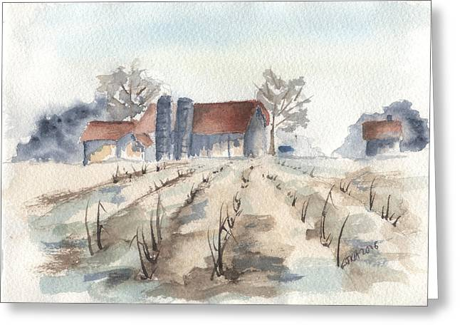 Maine Farm Greeting Card by Jan Anderson